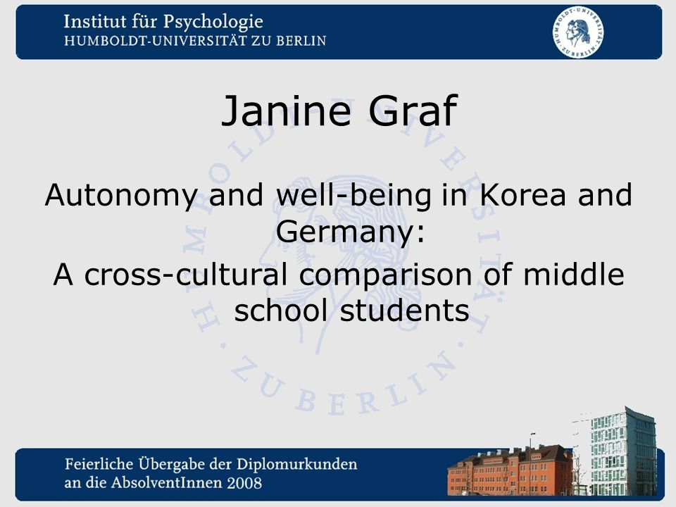 Janine Graf Autonomy and well-being in Korea and Germany: