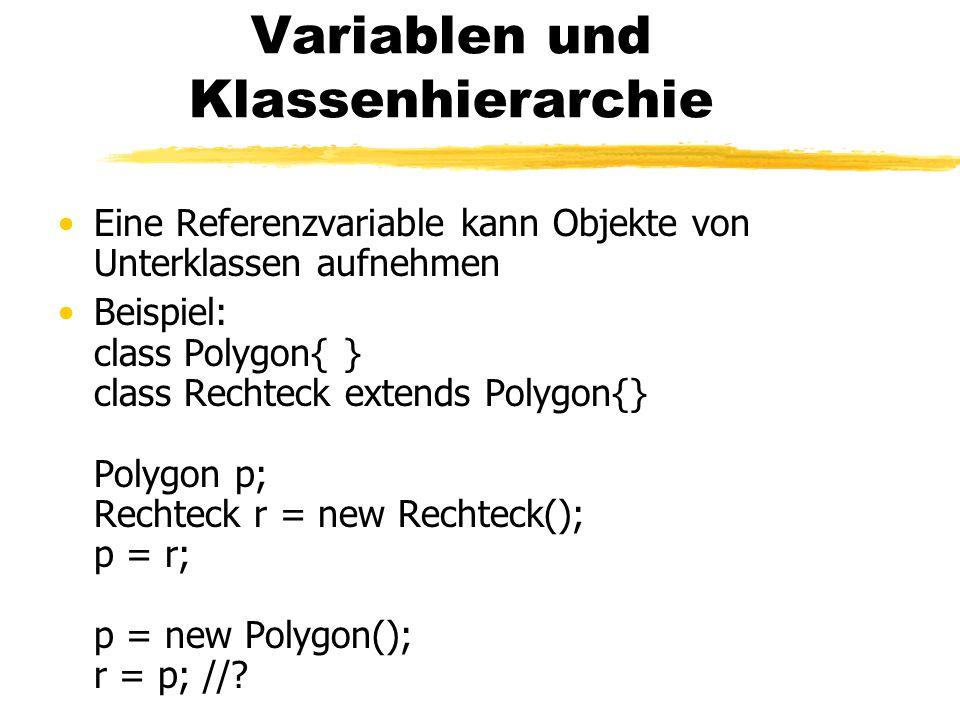 Variablen und Klassenhierarchie