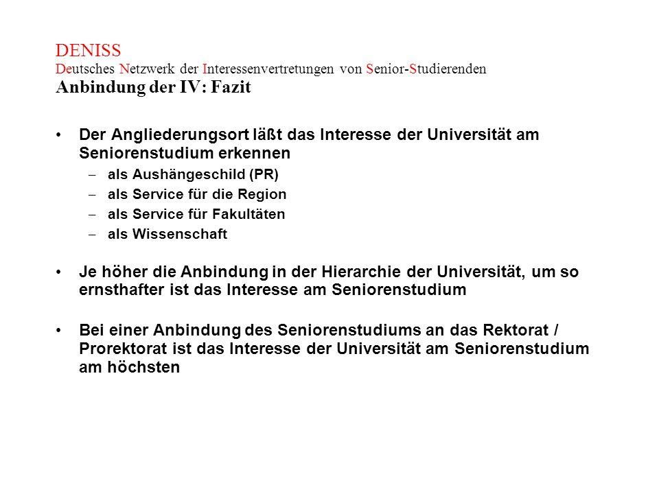 DENISS Deutsches Netzwerk der Interessenvertretungen von Senior-Studierenden Anbindung der IV: Fazit