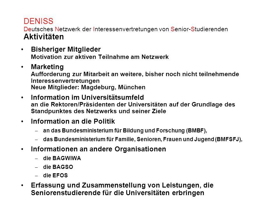 DENISS Deutsches Netzwerk der Interessenvertretungen von Senior-Studierenden Aktivitäten