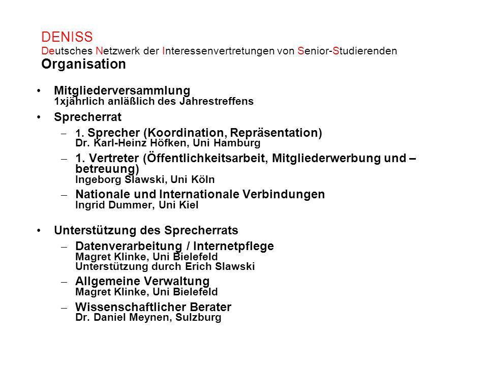 DENISS Deutsches Netzwerk der Interessenvertretungen von Senior-Studierenden Organisation