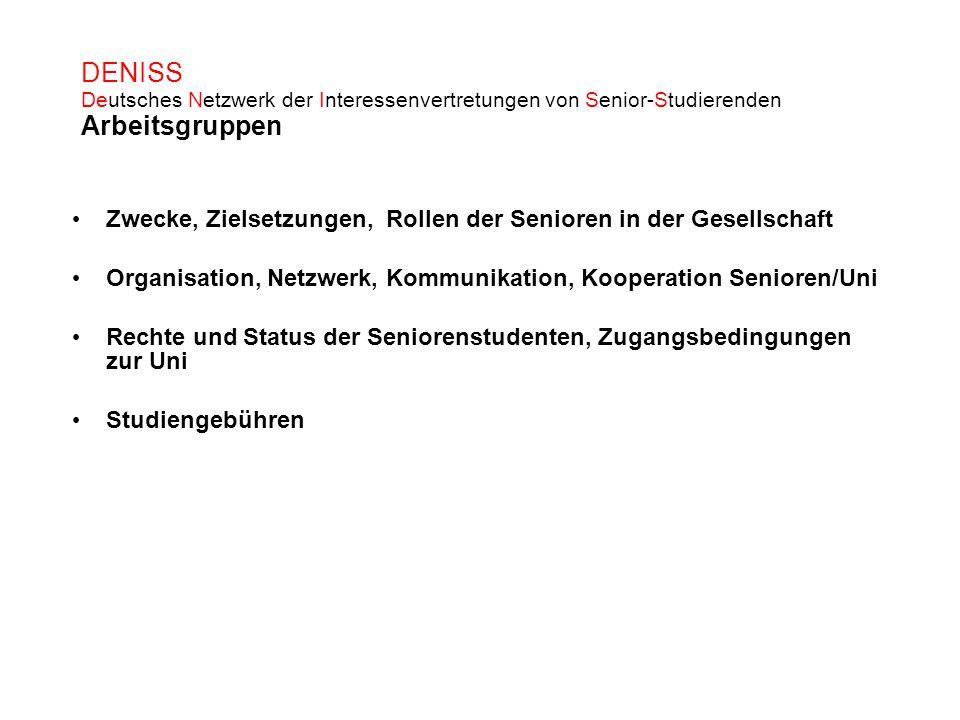 DENISS Deutsches Netzwerk der Interessenvertretungen von Senior-Studierenden Arbeitsgruppen