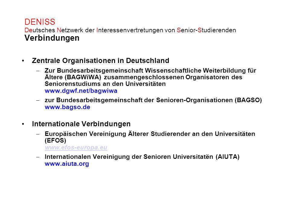 DENISS Deutsches Netzwerk der Interessenvertretungen von Senior-Studierenden Verbindungen