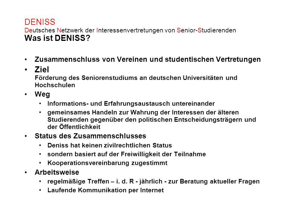 DENISS Deutsches Netzwerk der Interessenvertretungen von Senior-Studierenden Was ist DENISS