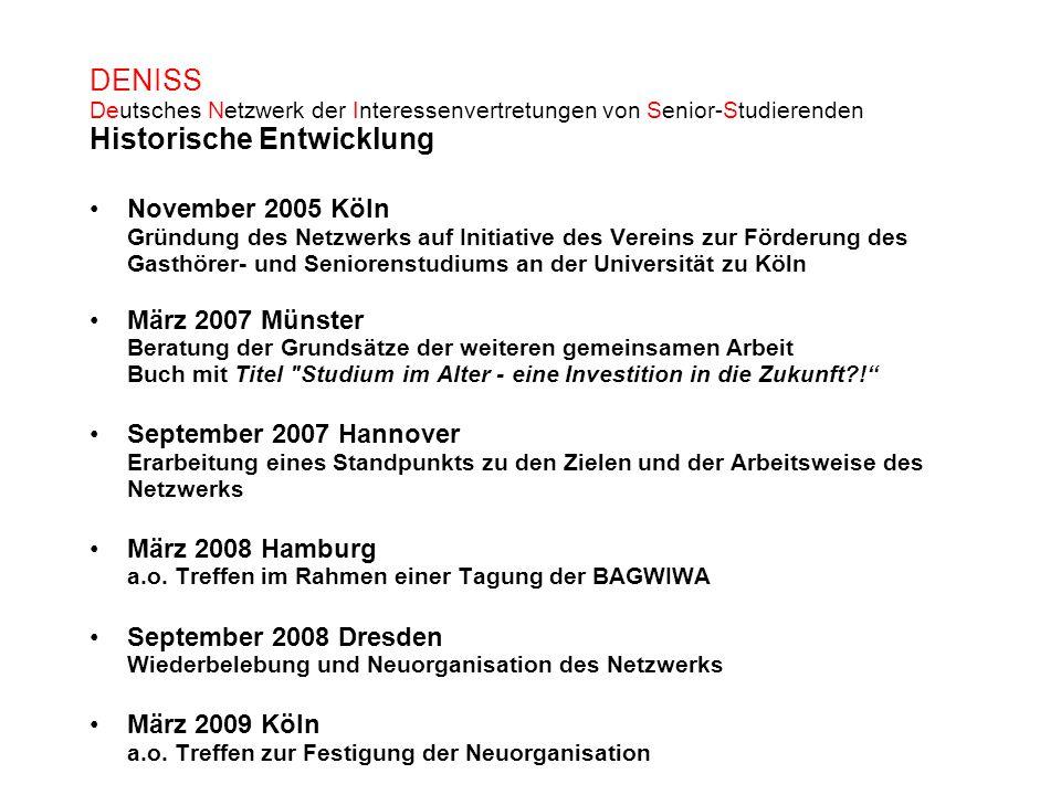 DENISS Deutsches Netzwerk der Interessenvertretungen von Senior-Studierenden Historische Entwicklung