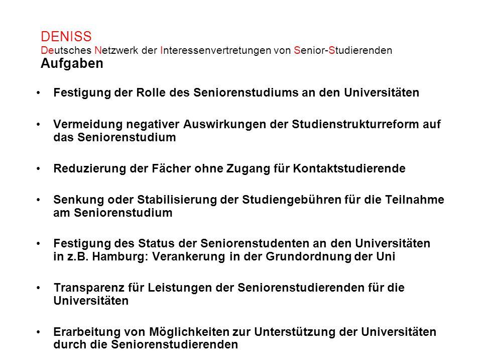 DENISS Deutsches Netzwerk der Interessenvertretungen von Senior-Studierenden Aufgaben