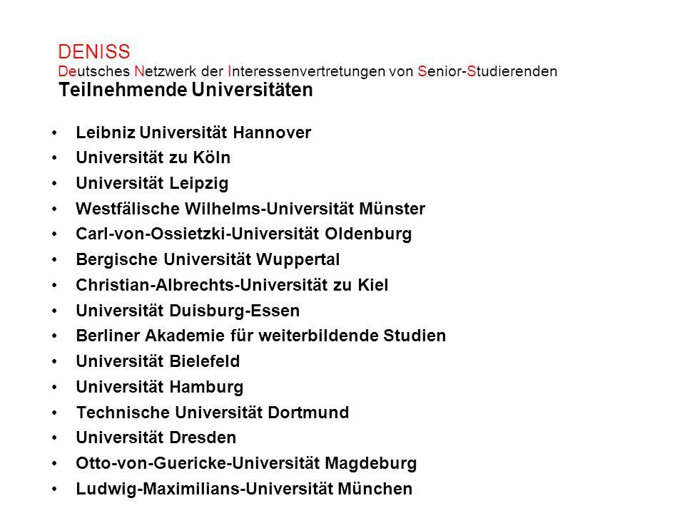 DENISS Deutsches Netzwerk der Interessenvertretungen von Senior-Studierenden Teilnehmende Universitäten