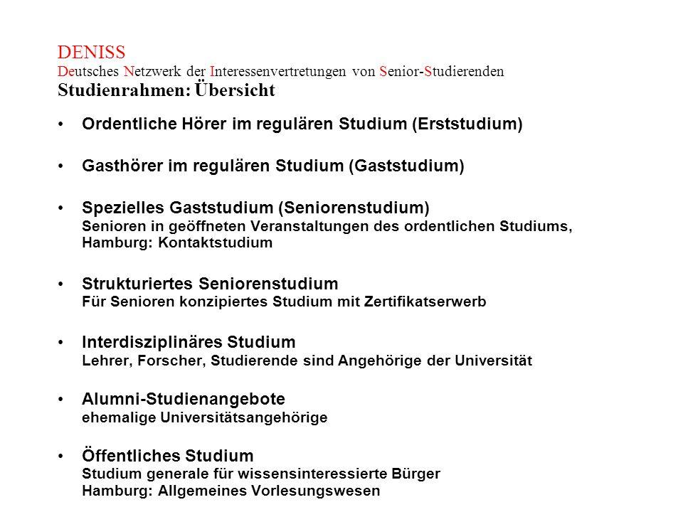 DENISS Deutsches Netzwerk der Interessenvertretungen von Senior-Studierenden Studienrahmen: Übersicht
