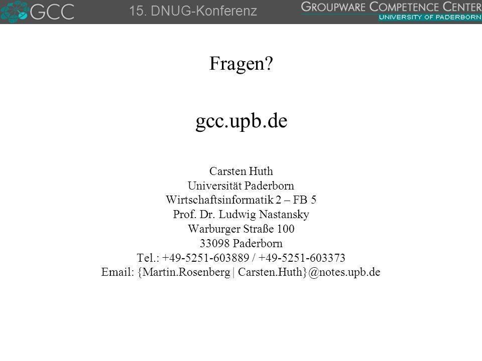 gcc.upb.de Fragen 15. DNUG-Konferenz Carsten Huth