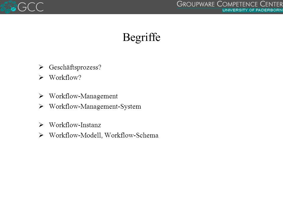 Begriffe Geschäftsprozess Workflow Workflow-Management