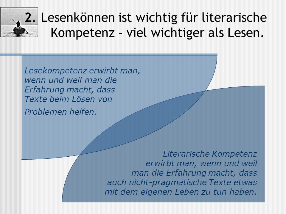 2. Lesenkönnen ist wichtig für literarische Kompetenz - viel wichtiger als Lesen.