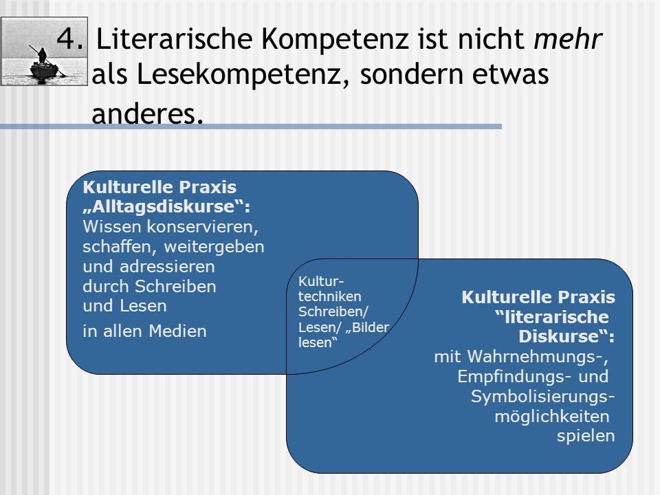 4. Literarische Kompetenz ist nicht mehr als Lesekompetenz, sondern etwas anderes.