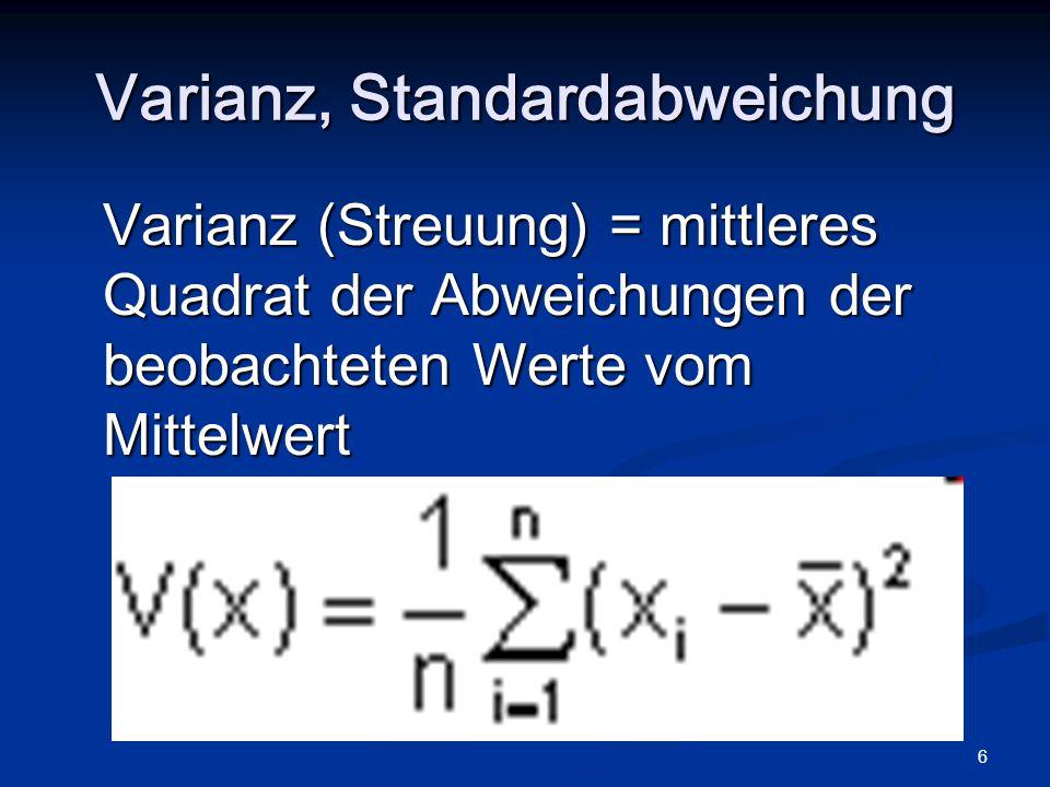 Varianz, Standardabweichung
