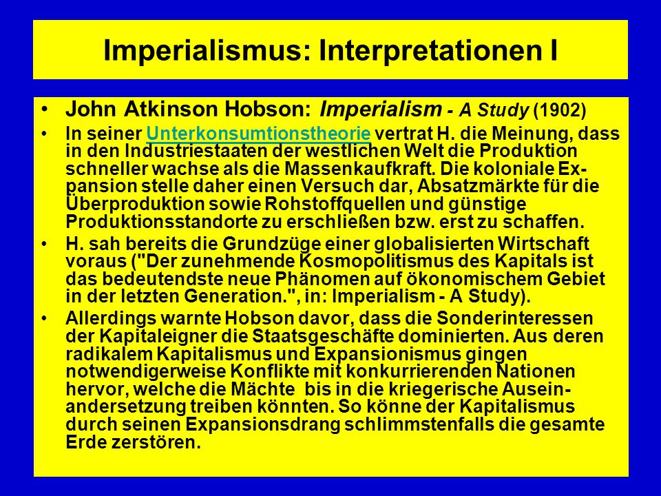 Imperialismus: Interpretationen I