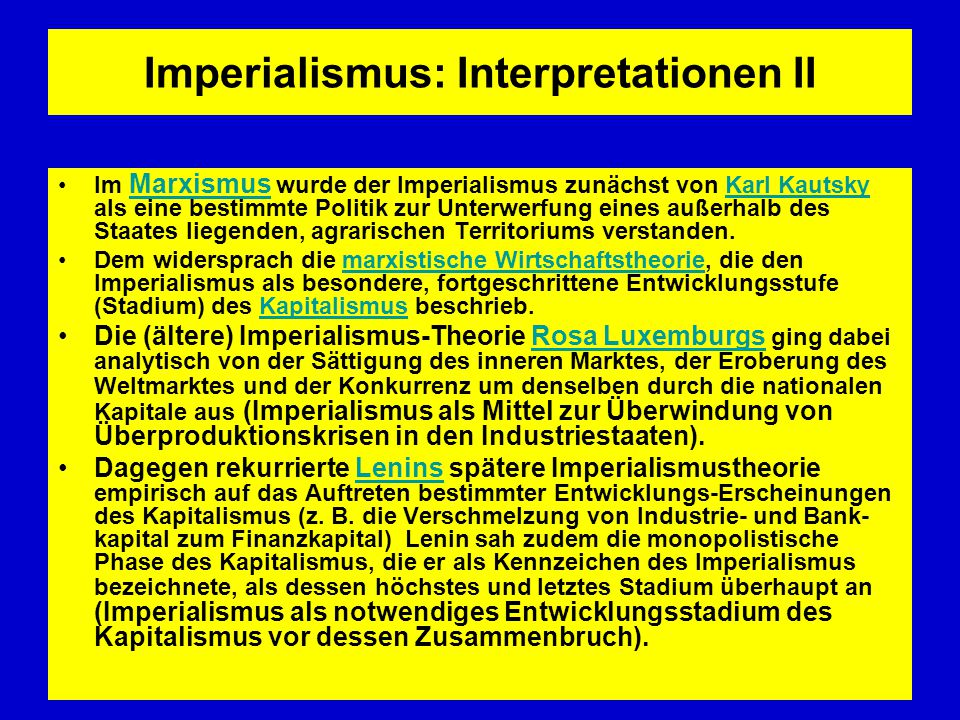 Imperialismus: Interpretationen II