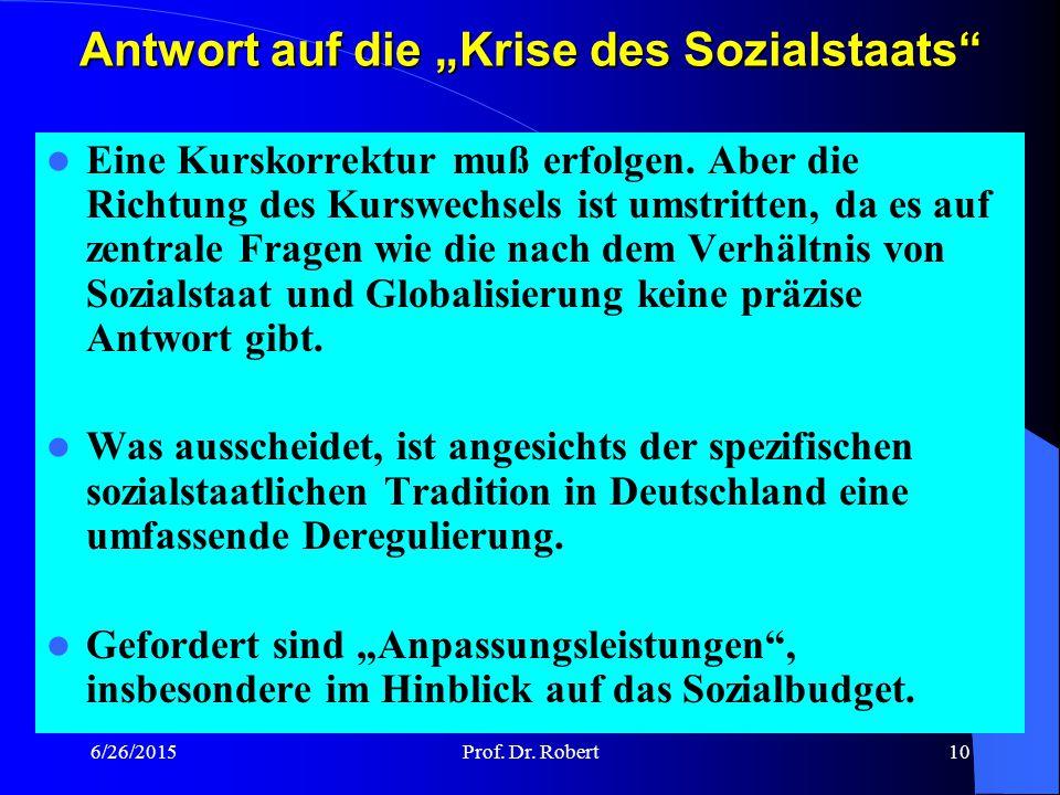 """Antwort auf die """"Krise des Sozialstaats"""