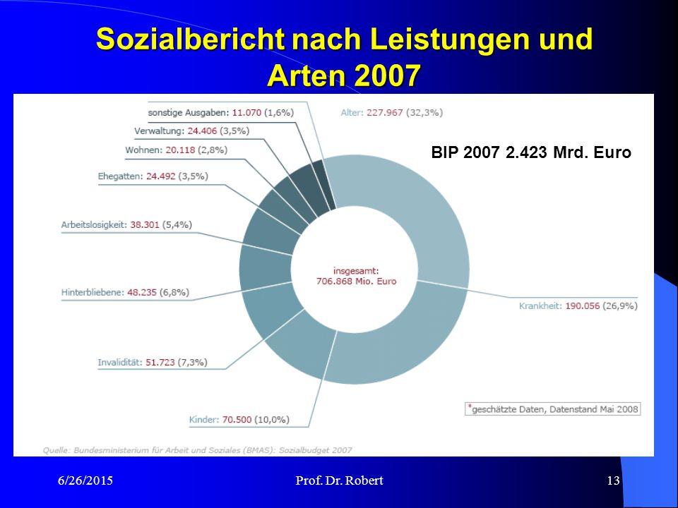 Sozialbericht nach Leistungen und Arten 2007