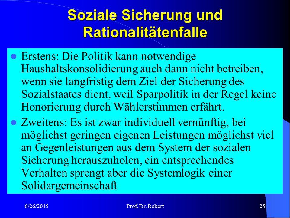 Soziale Sicherung und Rationalitätenfalle