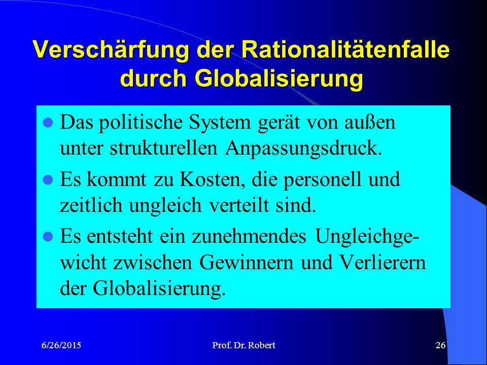 Verschärfung der Rationalitätenfalle durch Globalisierung