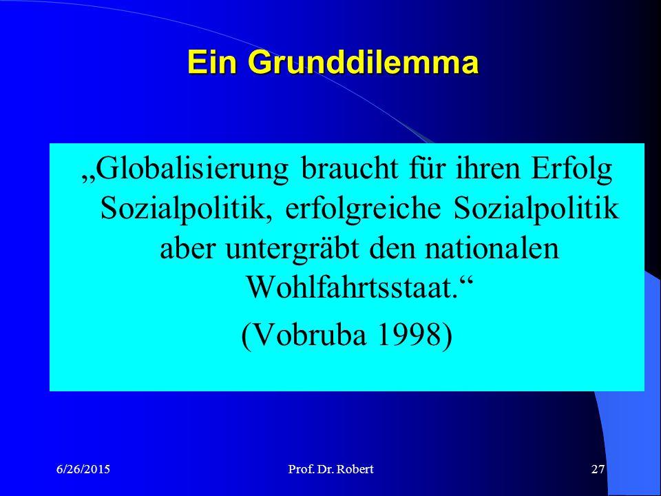 """Ein Grunddilemma """"Globalisierung braucht für ihren Erfolg Sozialpolitik, erfolgreiche Sozialpolitik aber untergräbt den nationalen Wohlfahrtsstaat."""