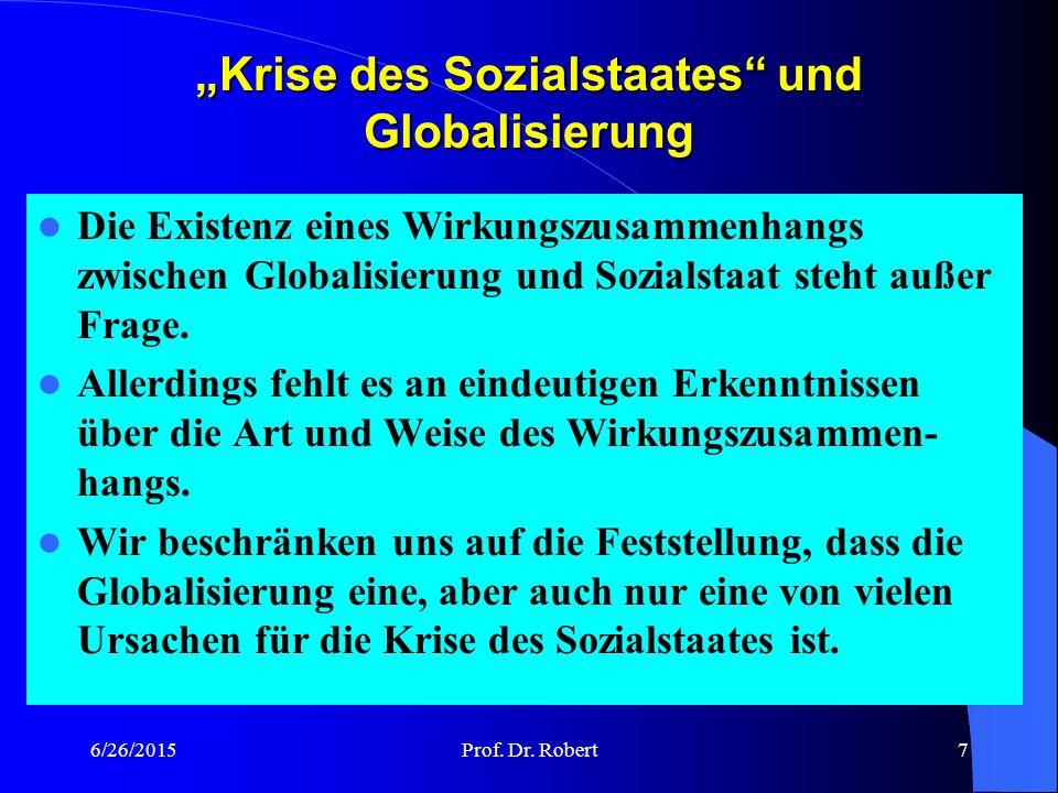"""""""Krise des Sozialstaates und Globalisierung"""