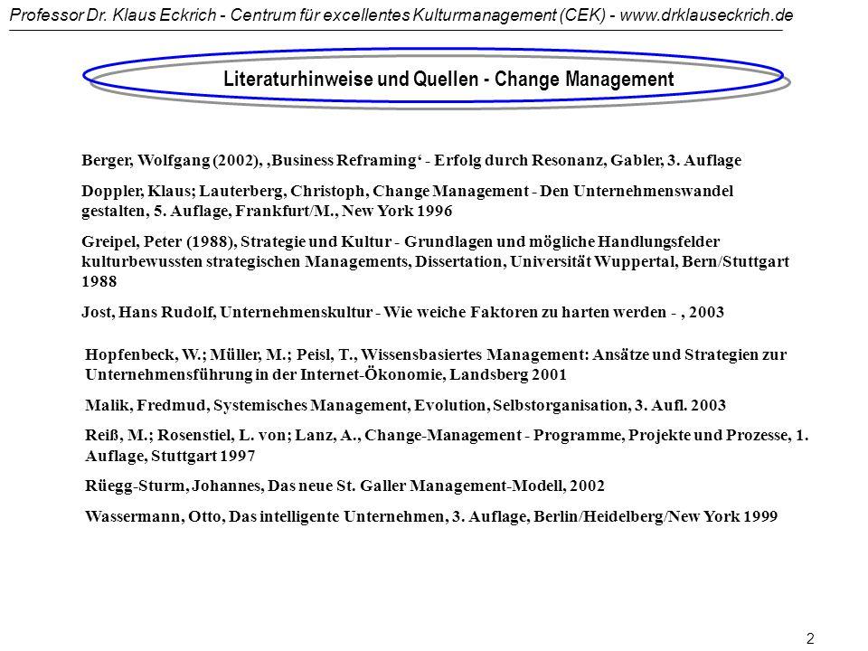 Literaturhinweise und Quellen - Change Management