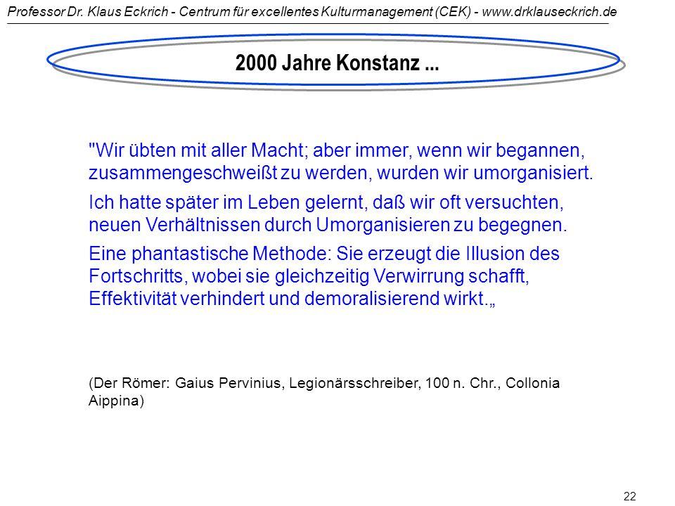 2000 Jahre Konstanz ... Wir übten mit aller Macht; aber immer, wenn wir begannen, zusammengeschweißt zu werden, wurden wir umorganisiert.