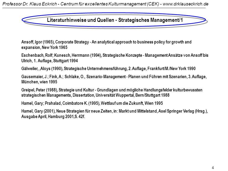Literaturhinweise und Quellen - Strategisches Management/1