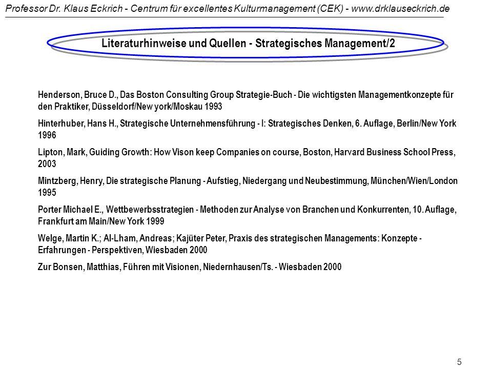 Literaturhinweise und Quellen - Strategisches Management/2