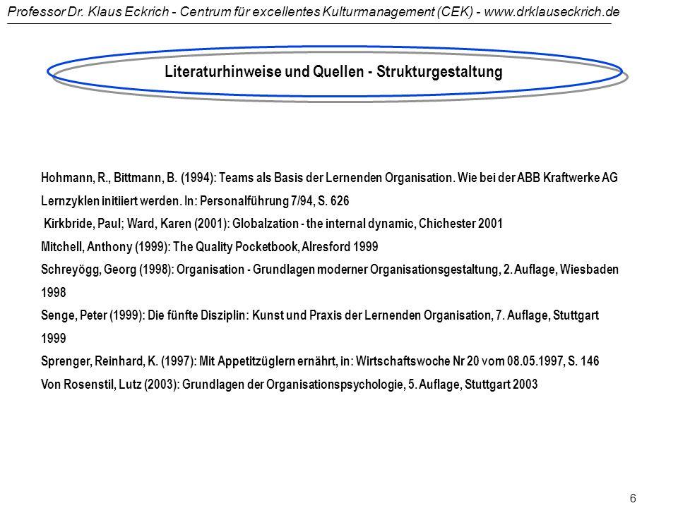 Literaturhinweise und Quellen - Strukturgestaltung