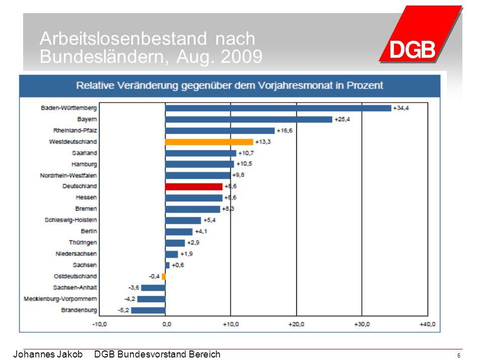 Arbeitslosenbestand nach Bundesländern, Aug. 2009