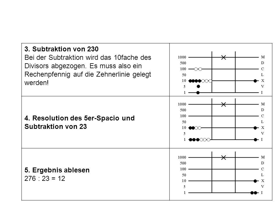 3. Subtraktion von 230 Bei der Subtraktion wird das 10fache des Divisors abgezogen. Es muss also ein Rechenpfennig auf die Zehnerlinie gelegt werden!