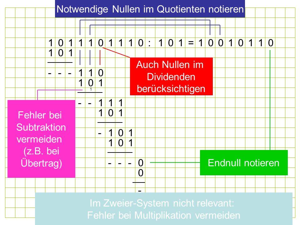 Notwendige Nullen im Quotienten notieren