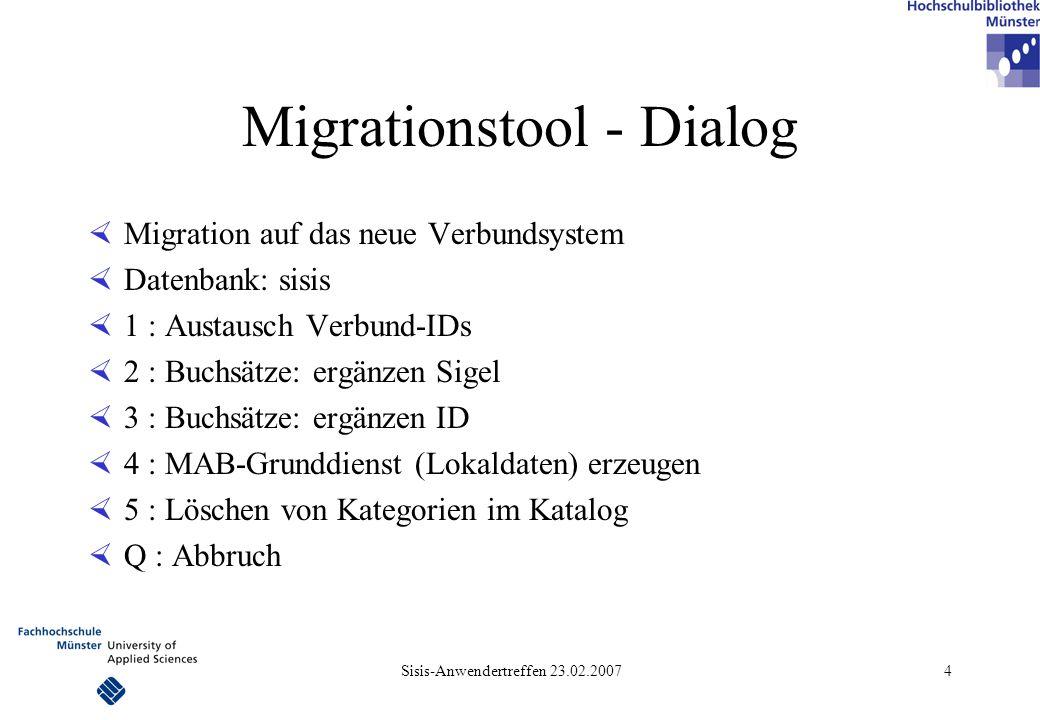 Migrationstool - Dialog