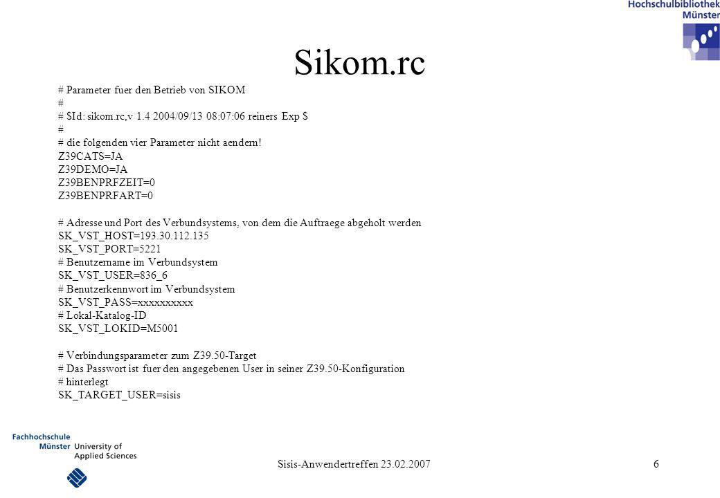 Sisis-Anwendertreffen 23.02.2007