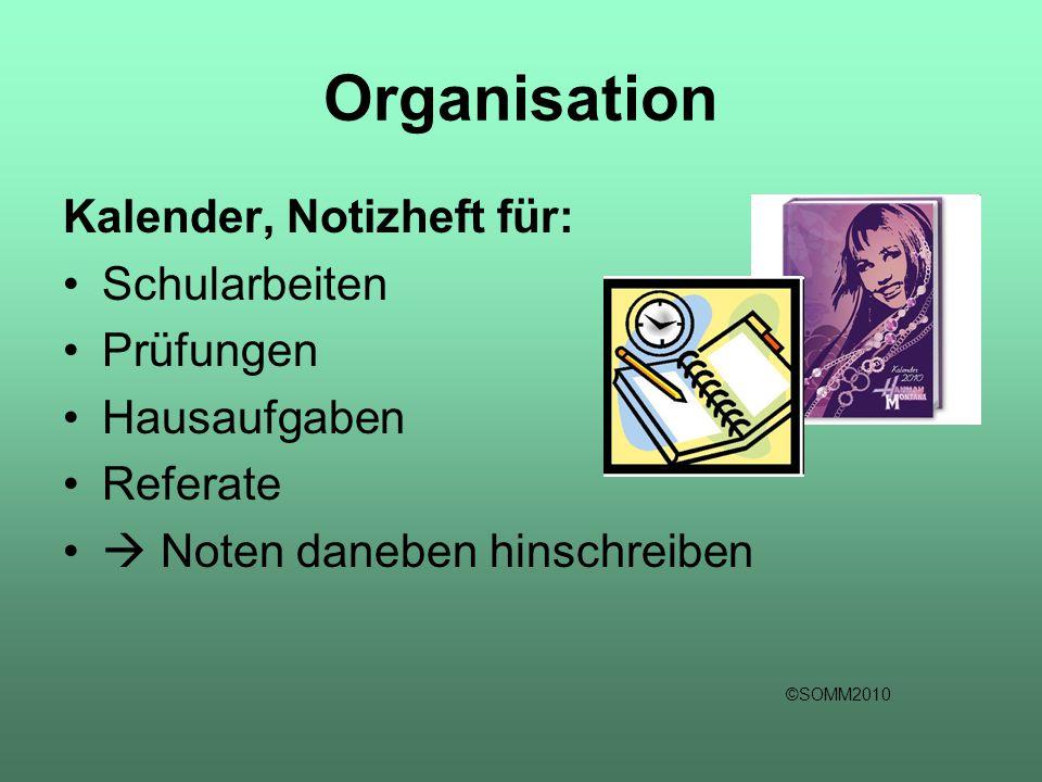 Organisation Kalender, Notizheft für: Schularbeiten Prüfungen