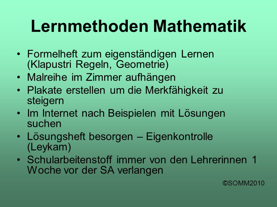 Lernmethoden Mathematik