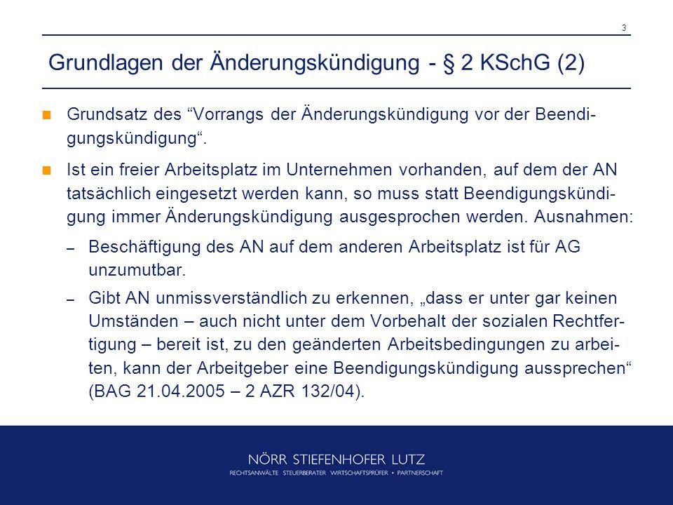 Grundlagen der Änderungskündigung - § 2 KSchG (2)