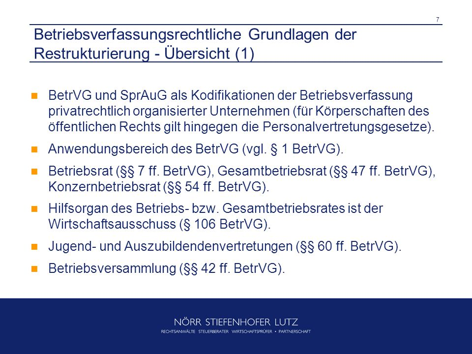 Betriebsverfassungsrechtliche Grundlagen der Restrukturierung - Übersicht (1)