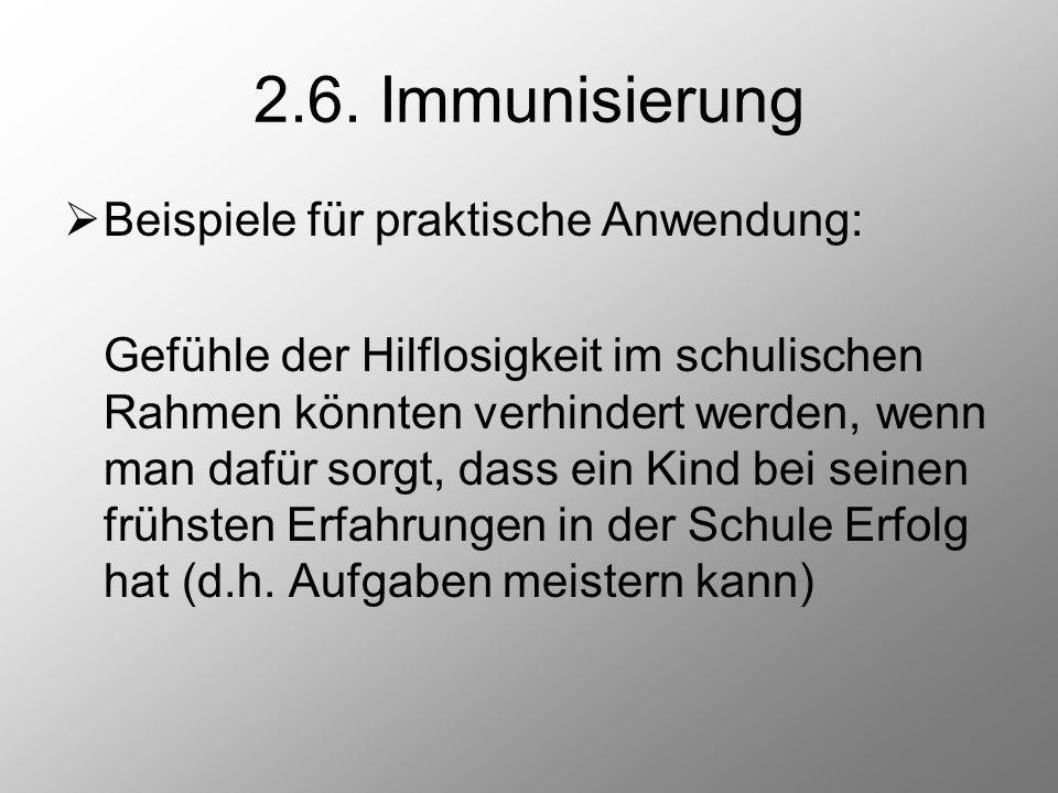 2.6. Immunisierung Beispiele für praktische Anwendung:
