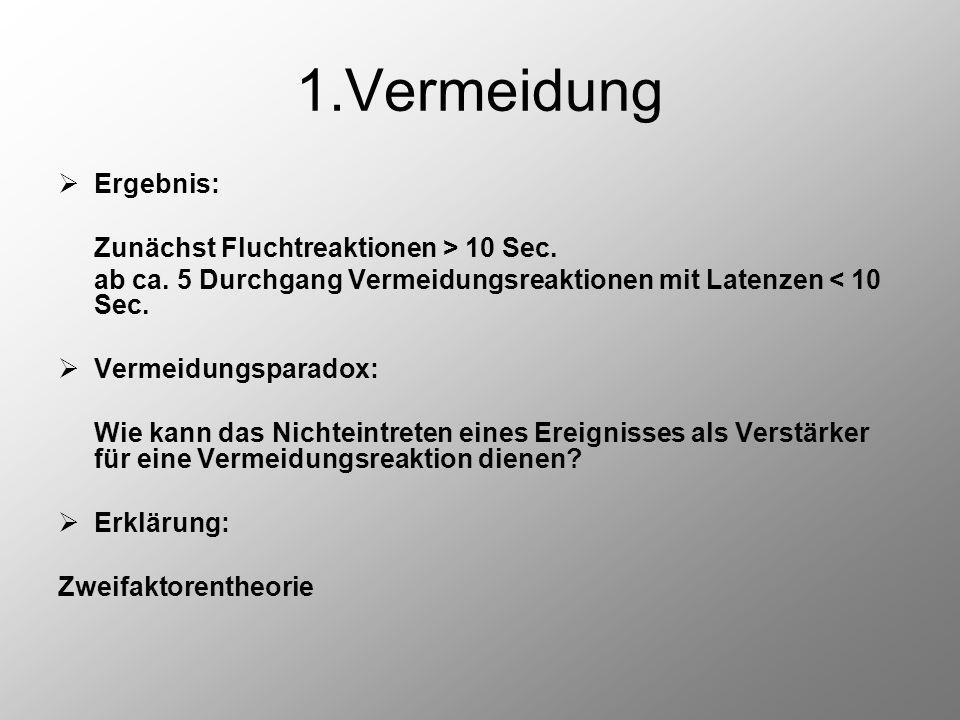 1.Vermeidung Ergebnis: Zunächst Fluchtreaktionen > 10 Sec.