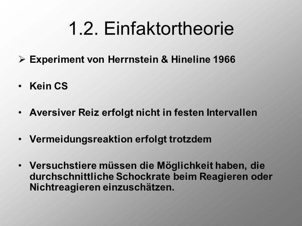 1.2. Einfaktortheorie Experiment von Herrnstein & Hineline 1966