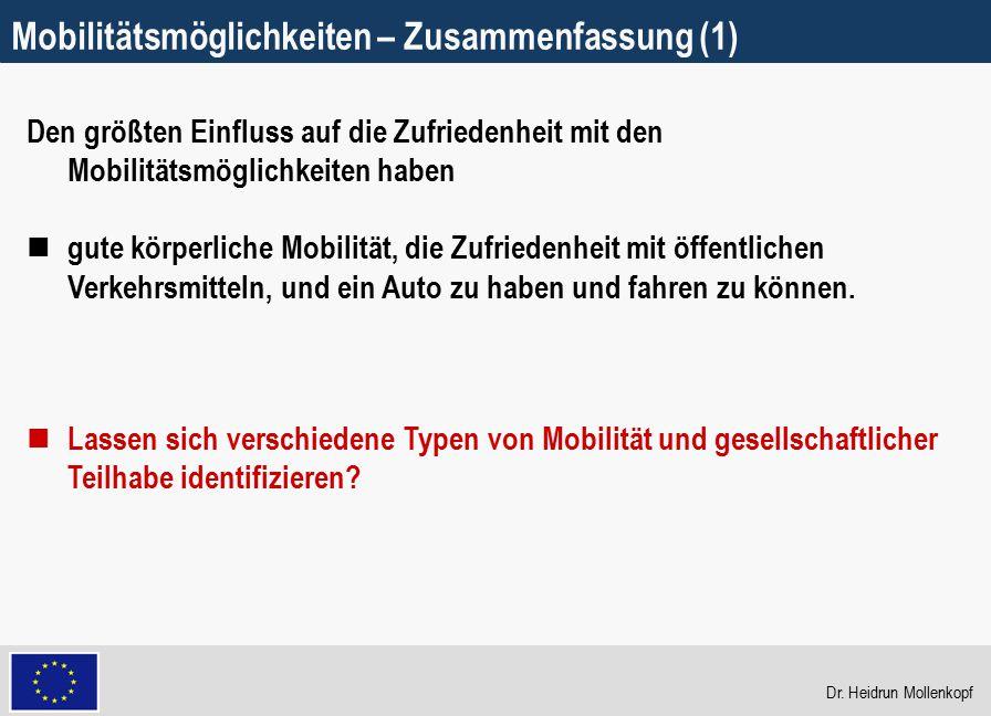 Mobilitätsmöglichkeiten – Zusammenfassung (1)