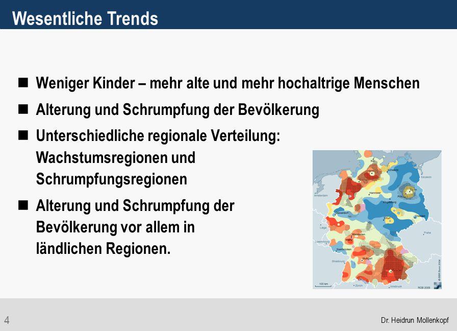 Wesentliche Trends Weniger Kinder – mehr alte und mehr hochaltrige Menschen. Alterung und Schrumpfung der Bevölkerung.