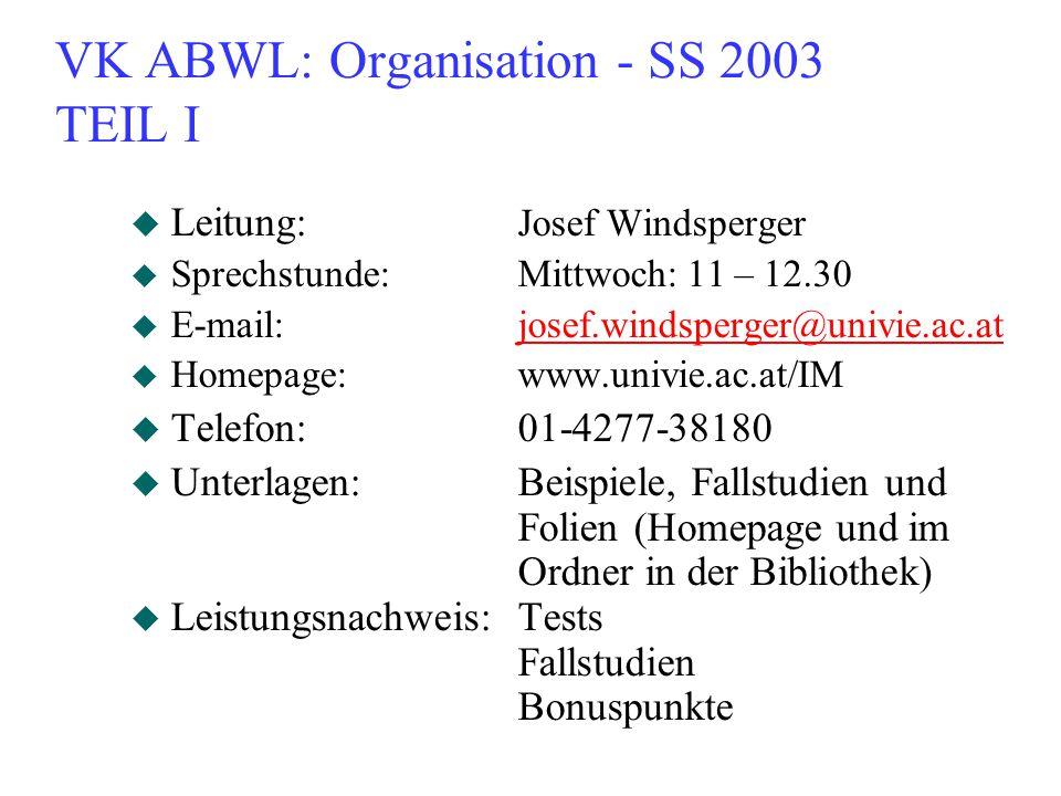 VK ABWL: Organisation - SS 2003 TEIL I
