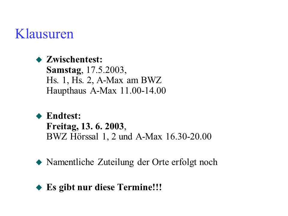 Klausuren Zwischentest: Samstag, 17.5.2003, Hs. 1, Hs. 2, A-Max am BWZ Haupthaus A-Max 11.00-14.00.