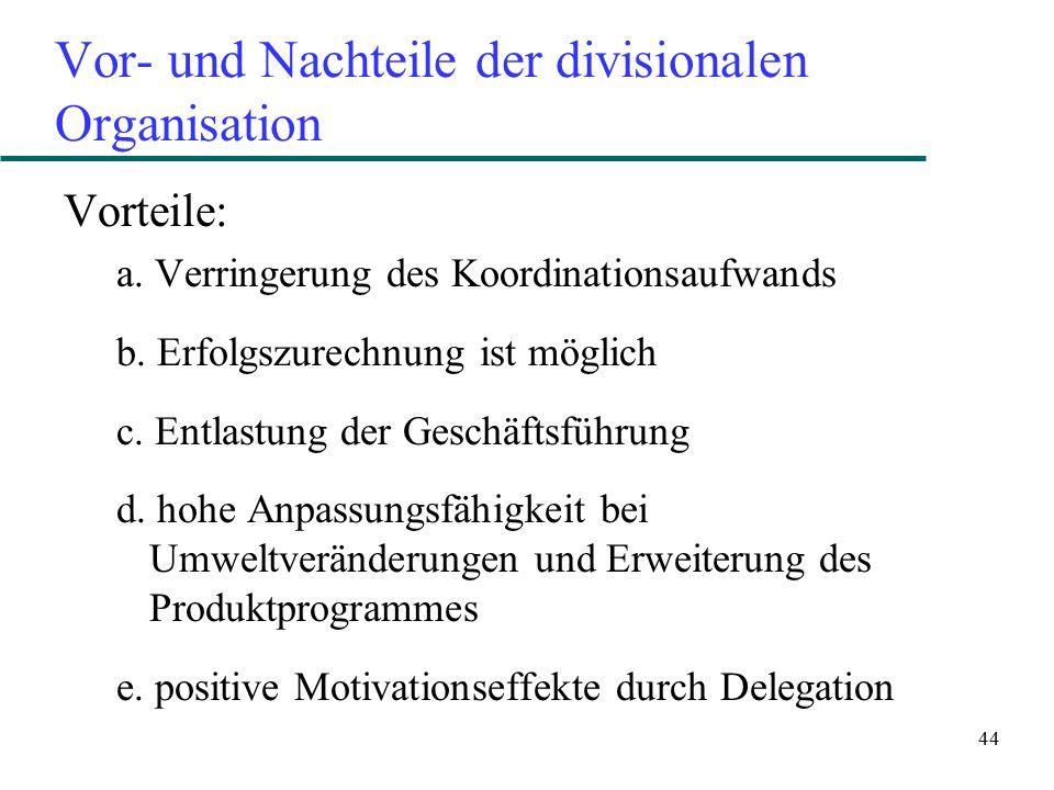 Vor- und Nachteile der divisionalen Organisation