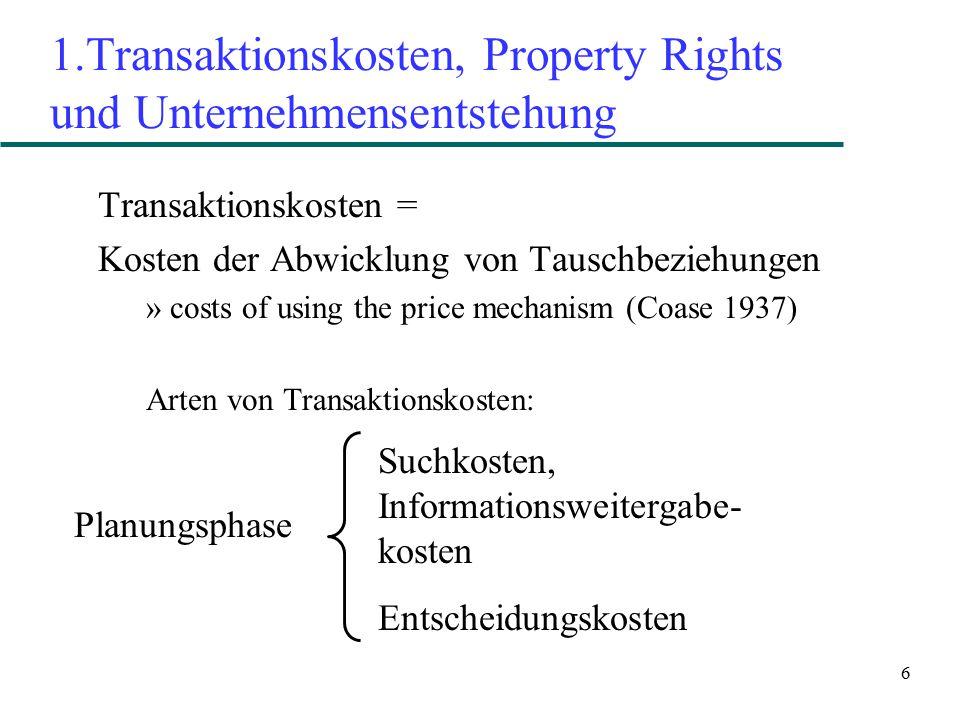1.Transaktionskosten, Property Rights und Unternehmensentstehung
