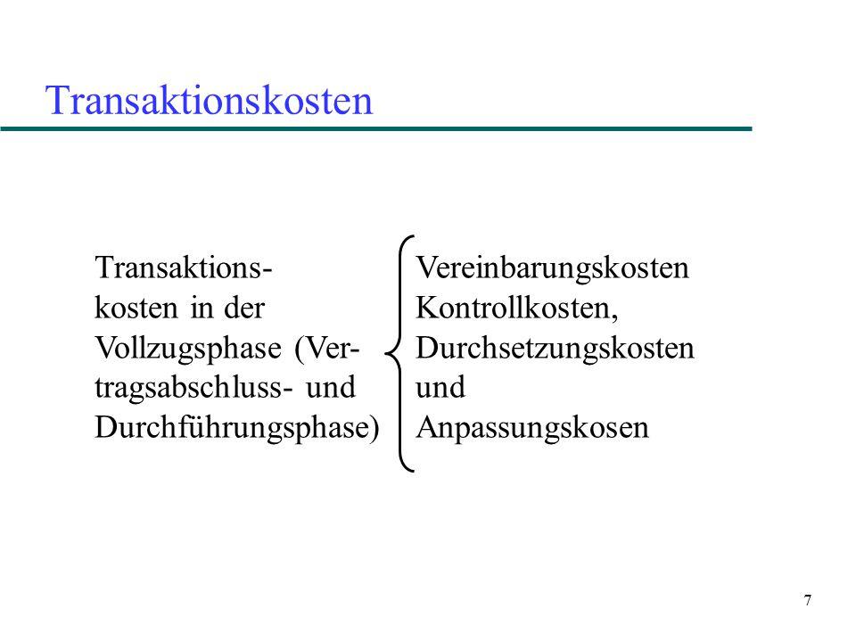Transaktionskosten Transaktions- kosten in der Vollzugsphase (Ver-