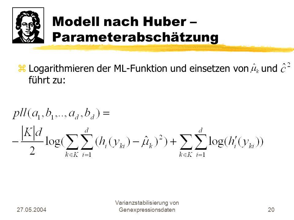 Modell nach Huber – Parameterabschätzung